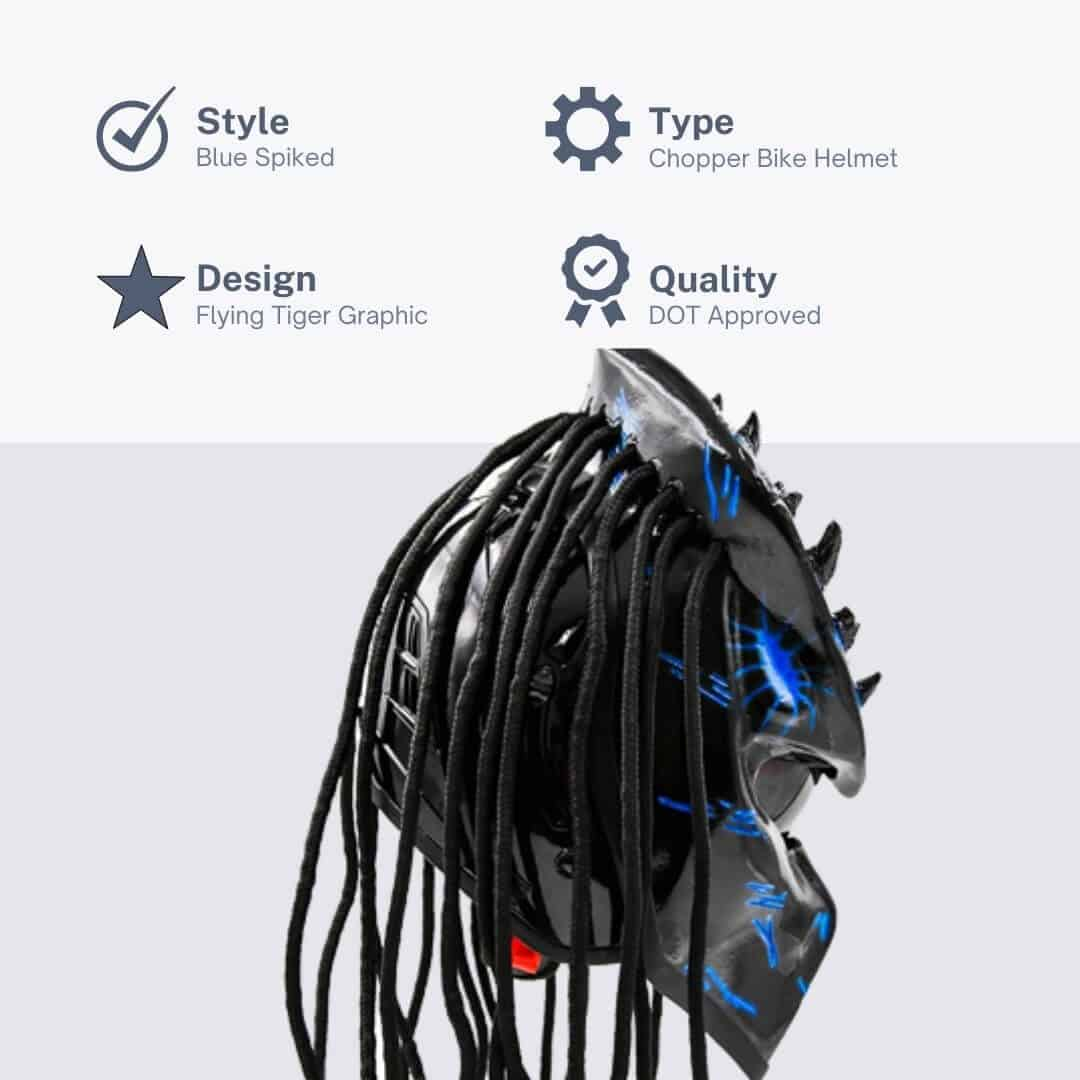 Predator-Motorcycle Blue Spiked Helmet